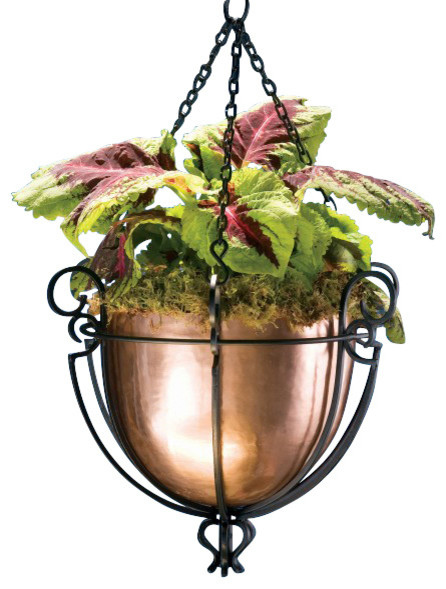 Hanging Copper Planter Traditional Outdoor Pots And