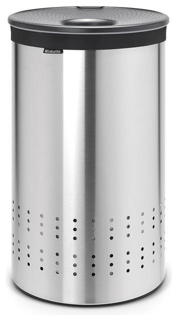Laundry bin plastic lid 50 litre matt steel cool grey contemporary laundry baskets - Modern hamper with lid ...