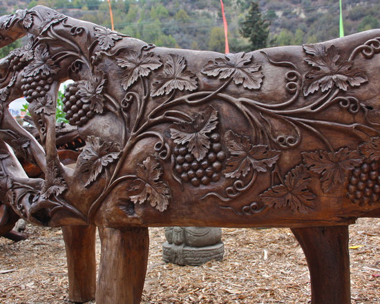 Handcarved Teak Bench from Bali -