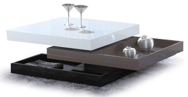 Modern Square Swivel Top Coffee Table With Storage Tamano Modern Coffee Tables Other Metro