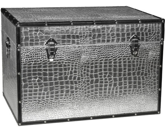 Faux Leather Crocodile Storage Trunk -
