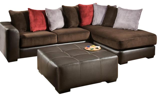 Global U2780 2 Piece Sectional Sofa Set In Chocolate