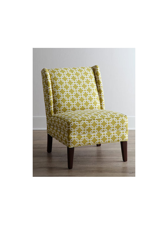 "Horchow - Heartstrong Chair - Clean lines dressed in a chain-link print give this armless chair upscale appeal. It blends nicely with both traditional and transitional decorating styles. Hardwood frame. Cotton upholstery. 34""W x 26""D x 36""T. Made in the USA. Boxed weight, appro..."