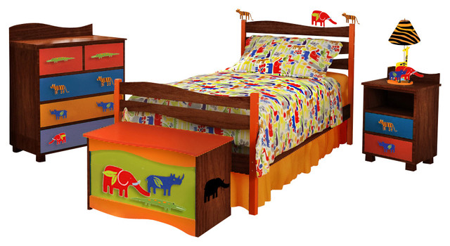 Zoo 4 U Twin Bed, Chocolate modern-kids-beds