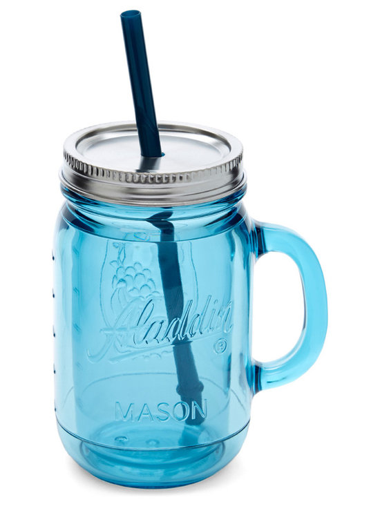 Aladdin - Topaz Insulated 20-Oz. Mason Tumbler - This handled mason tumbler was crafted to bring out the best in a vintage-inspired kitchen, making it perfect for taking fresh lemonade on the go.   Includes tumbler, lid and straw 9'' H x 3.5'' diameter Holds 20 oz. BPA-free plastic Dishwasher-safe Imported