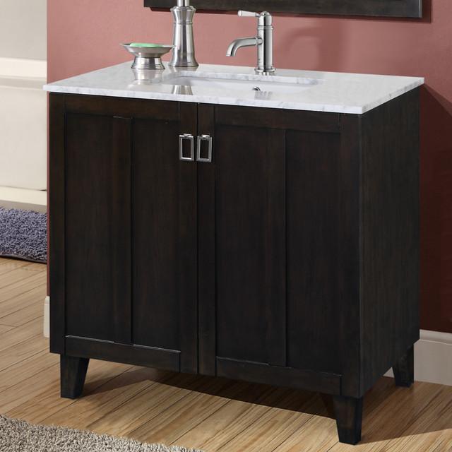 Carrara 36 Inch White Marble Top Single Sink Bathroom Vanity In Dark Brown Fi