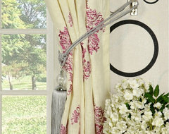 Light Purple Embroidered Damask Double Pinch Pleat Linen Curtains modern