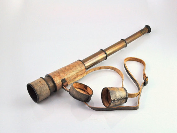 Vintage Steampunk Brass Telescope With Carry Belt by Vintage Fab Store contemporary-telescopes