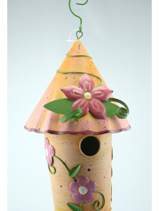 Outdoor Accents - Hibiscus Birdhouse  -  Brightly colored accent crafted from metal.