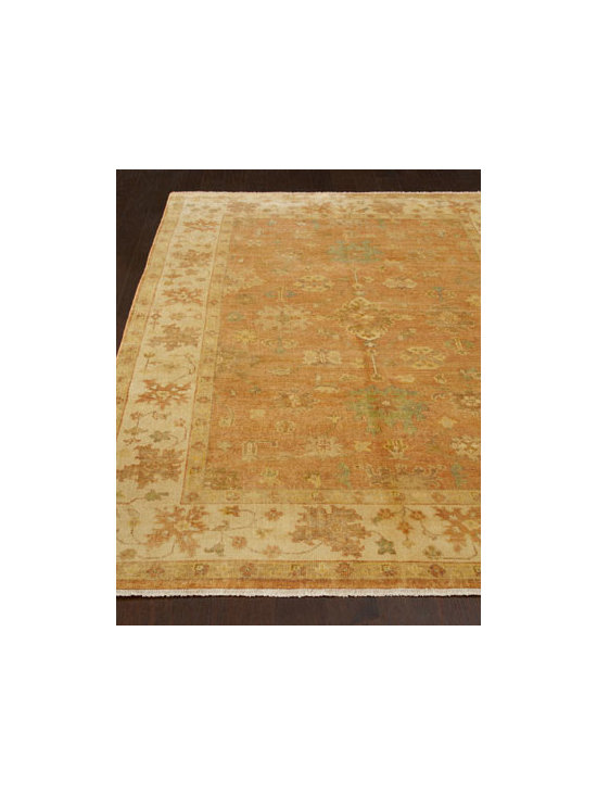 "Horchow - ""Purmela"" Oushak Rug - Exceptional Oushak rug is made in the Turkish tradition using fine New Zealand wool with an exclusive five-step finishing process for an elegant soft-fade look that never goes out of style. Hand knotted of wool. Sizes are approximate. Imported. NOTE..."