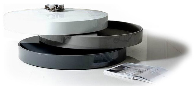 Contemporary Transforming Round Coffee Table With Storage Mooka Modern Coffee Tables Other