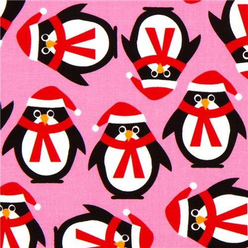 pink Christmas fabric with penguins by Robert Kaufman - Fabric - by ModeS Group Ltd