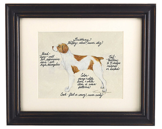Ballard Designs - Brittany Spaniel Dog Print - Our Brittany Spaniel Dog Print was created by the dog-loving, husband and wife team of Vivienne and Sponge. The Brittany Spaniel is known for being happy, alert and never shy. Each Brittany Spaniel portrait is hand colored and embellished with notes on the breed's special characteristics. Printed on antiqued parchment, signed by the artists and framed in antique black wood with eggshell mat and glass front. Brittany Spaniel Dog Print features:Hand colored & signed. Printed on parchment. Eggshell mat. Antique black frame