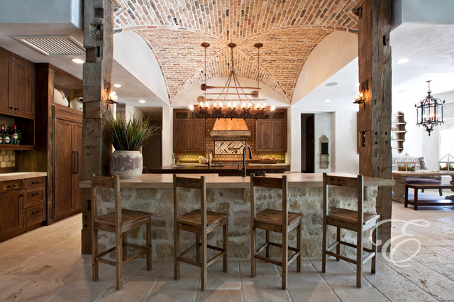 Tuscan Farmhouse Mediterranean Kitchen houston by Eklektik Interiors