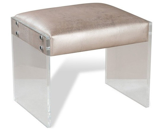 Nori Champagne Leather Ottoman with Acrylic Legs -