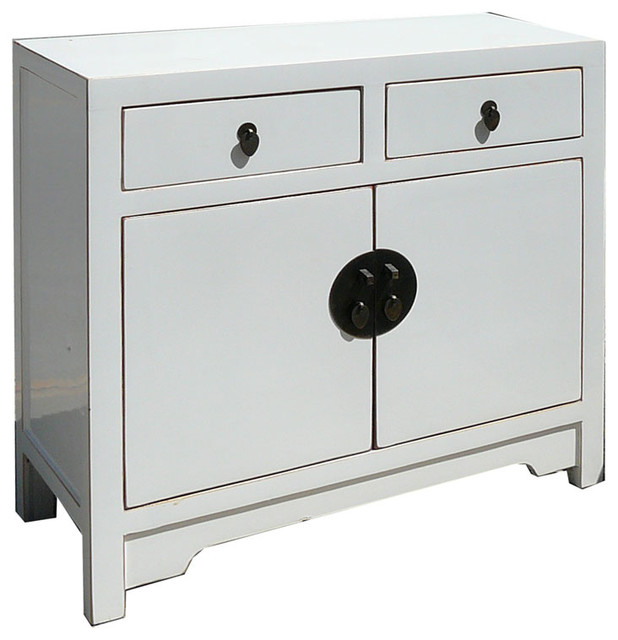 White Lacquer Chinese Moon Face Sideboard Console Table TV Stand Cabinet - Asian - Entertainment ...