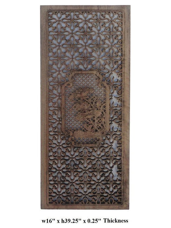 Chinese Two-Sided Hand Carved Plant & Flowers Wooden Wall Panel - This is an elegant wooden wall panel. It is made of solid elm wood and two-sided finished with plants and flowers pattern carving. Wall panels are commonly used in Asia as decoration.