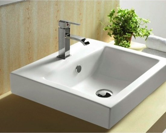 "Caracalla - Self Rimming or Wall Mounted Modern Ceramic Bathroom Sink - This beautiful modern square ceramic sink is designed in Italy by Caracalla. It can be installed as either a self rimming or wall mounted bathroom sink. Sink includes overflow and comes with either one faucet hole (as shown) or 3 holes. Sink dimensions: 20.47"" (width), 7.09"" (height), 18.11"" (depth)"