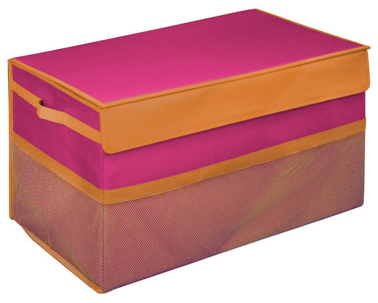 Great Useful Stuff - Kids Collapsible Toy Box, Pink, Large - There are enough heavy things in life, toy chests shouldn't be one of them. Kids don't need to lug around heavy wooden toy boxes. Neither do Moms and Dads. These collapsible toy storage bins are light and easily portable. Yet, the Kangaroom Collapsible Toy Boxes are strong enough that you can jam-pack them with toys. And you won't be searching for those smaller toys at the bottom of the bin. These toy storage bins have see-through mesh side pockets for quick access to cards and crayons. Kangaroom Collapsible Toy Boxes are constructed with lightweight side handles for convenient carrying. Velcro tabs keep these toy storage bins sealed. And Kangaroom Collapsible Toy Boxes are stackable - two small collapsible toy storage bins stack on top of one large bin. The Kangaroom Collapsible Toy Boxes fold flat. Keep this collapsible toy storage out of sight when not in use. Now, if only these toy storage bins would pick up the toys for you!