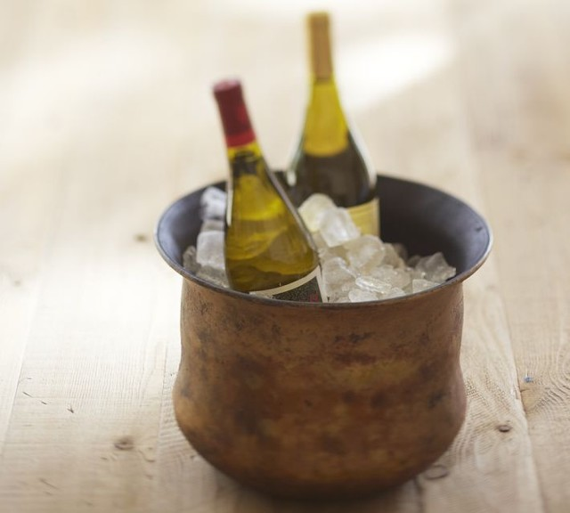 Distressed Gold Wine Bucket traditional-ice-tools-and-buckets
