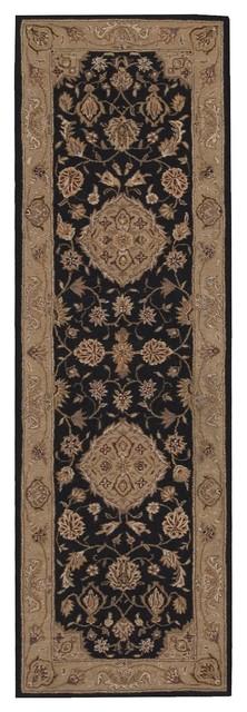 "Traditional Heritage Hall Hallway Runner 2'6""x8' Runner Black Area Rug traditional-area-rugs"
