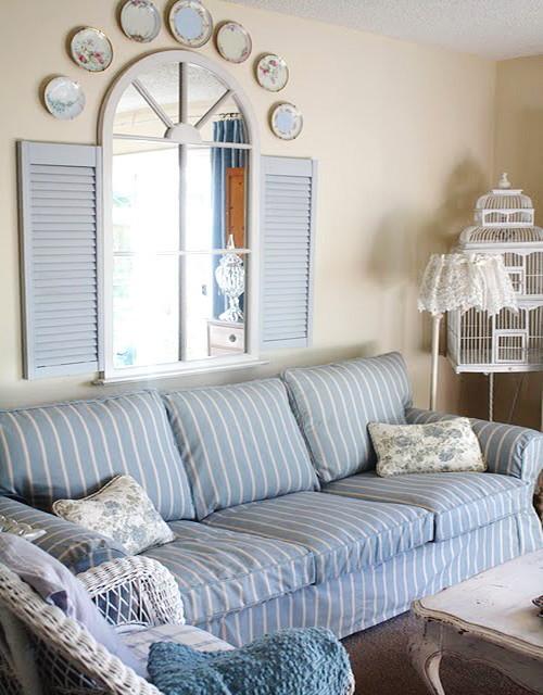 Custom Sofa Slipcover In Brighton Blue Stripes