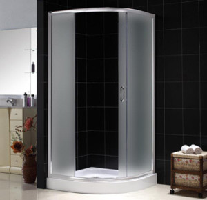"Sparkle Shower Enclosure, 35""D x 35""W x 73""H, Frosted Glass modern-showers"