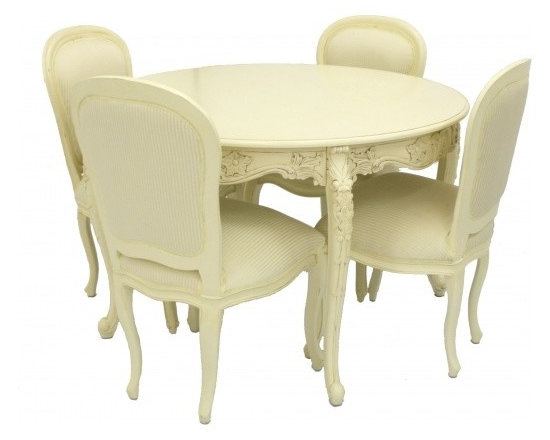 Chichi Furniture Exclusives. - A beautiful ornate french dining table and four chair set, finished in our classic antique ivory.