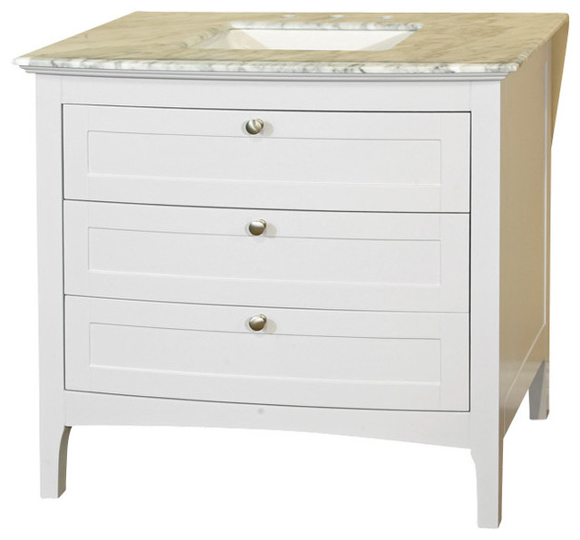 35 Inch Single Sink Vanity-Wood-White Cabinet Only - Contemporary - Bathroom Vanities And Sink ...
