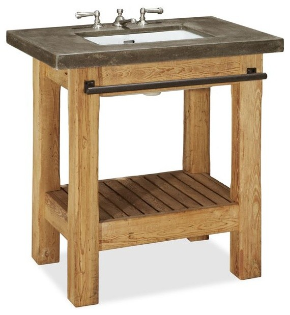 Abbott single sink console rustic bathroom vanities for Console bathroom vanity