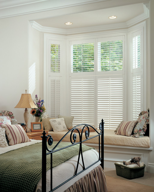 Master bedroom window treatments white composite shutters for Bedroom bay window treatments