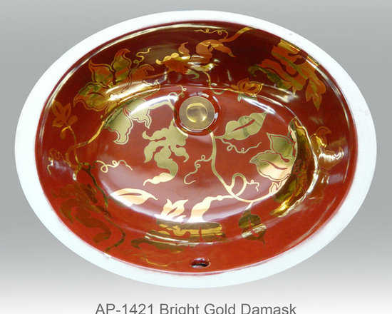 "Hand Painted Undermounts by Atlantis Porcelain - ""BRIGHT GOLD DAMASK"" Shown on AP-1421 white Ovalyn undermount 17-1/2""x14-1/2"". This design is available in bright gold and bright platinum on any of our sinks. You can customize the design using colors to match your specific décor."