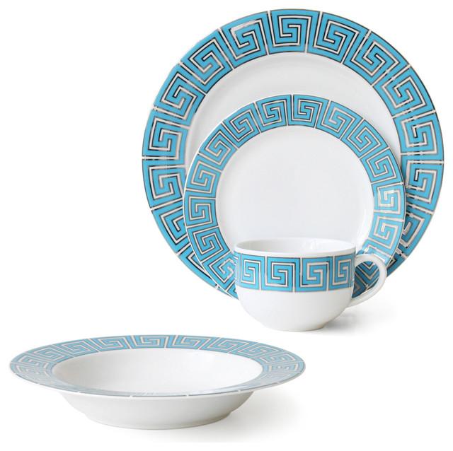 Greek Key 4-Piece Setting, - Modern - Dinnerware Sets - by Jonathan ...
