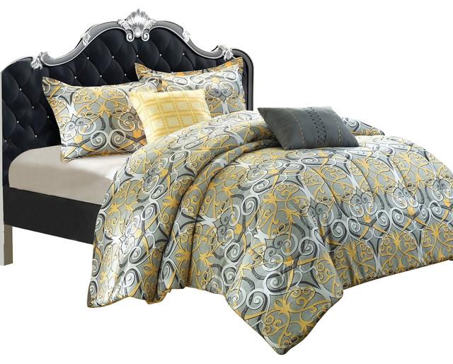 radiance antique scroll gold grey king 5 piece comforter bed in a bag set traditional. Black Bedroom Furniture Sets. Home Design Ideas