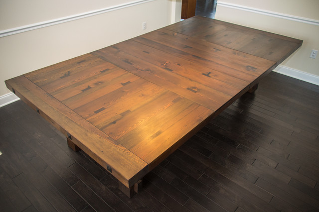 Old Crow Whiskey Distillery Reclaimed Heart Pine Trestle Dining Table