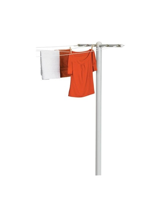 5 Line T-Post Dryer - Honey-Can-Do DRY-01452 T-Post for 5-Line Outdoor Clothes Drying, White. Attractive and eco-friendly, this powder-coated steel outdoor drying T-post is durable and rust-resistant. Permanently installed, the 3-inch diameter post provides stability for heavy loads and strength against the elements. Attach up to 5 lines to the substantial 45-inch cross arm. Embed in cement to install post; string your clothesline; knot and tighten with the included eyehooks and it's ready for use. Designed for post-to-wall installation; attach two or more T-posts for a free standing system.