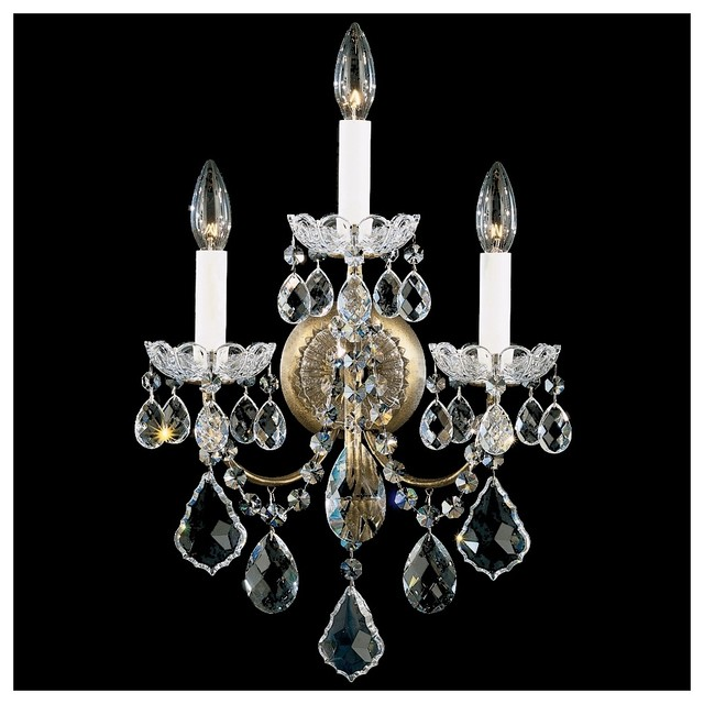 Clear Crystal Wall Sconces : Schonbek New Orleans Collection 3-Light Crystal Wall Sconce - Traditional - Wall Lighting