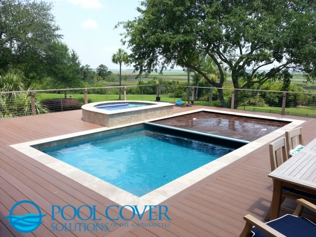 Wood Deck Automatic Pool Cover And Spa Cover Traditional