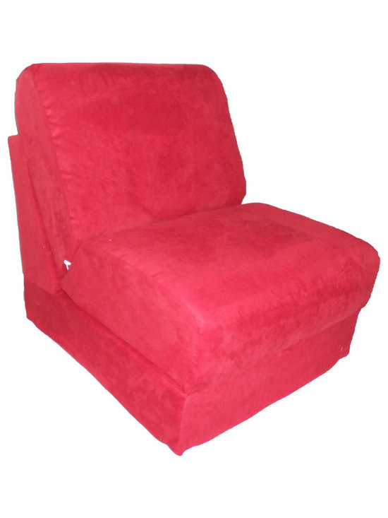 """Fun Furnishings - Fun Furnishings Micro Suede Teen Chair in Red - What a great place to plop down and relax. Each bag come with a handy pocket to store the clicker or any other prized possession. The outer cover is removable for cleaning. The inner liner bag securely contains new fire retardant �beads"""" and is refillable too. Cleaning the cover. We use only fine upholstery-grade fabrics that can take lots of use from kids. Our micro Suede's, denims and chenille's are all washable."""