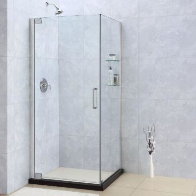 DreamLine Plumbing Supplies. Elegance 30 in. x 32 in. x 72 in. Frameless Pivot S contemporary-showers