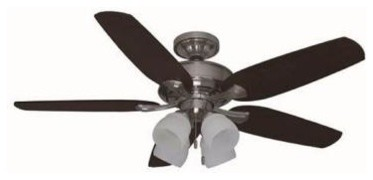 Indoor Ceiling Fans: Hunter Ceiling Fan. 52 in. Channing Indoor Brushed Nickel C contemporary-ceiling-fans