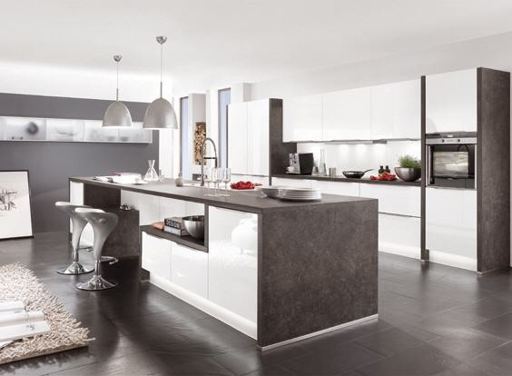 White kitchen - Modern kitchen with island ...