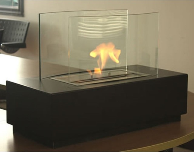Tizzo Freestanding Fireplace Tempered Clear Glass Black