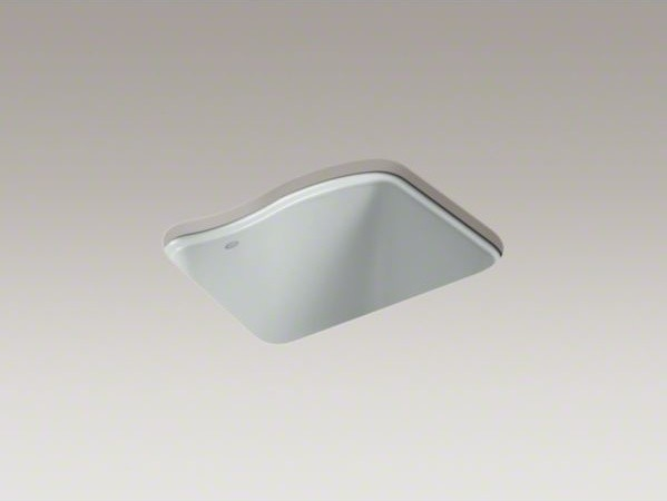 KOHLER River Falls(TM) under-mount utility sink with 4 faucet holes - 3-holes on contemporary-kitchen-sinks