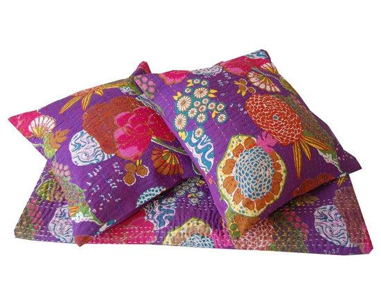 Purple Kantha Stitch Cushion Cover -