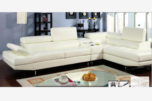 Modern White Leather Sectional Sofa Couch Console