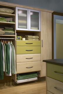 Modern Custom Closet with Green Drawers