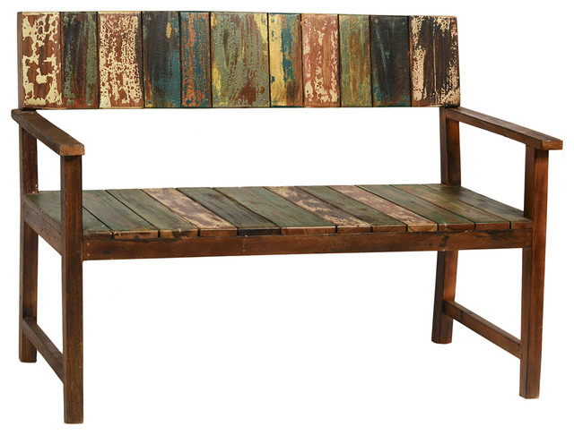 Old Boat Wood Bench Rustic Indoor Benches Other Metro By One World Home Furnishings