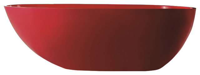 ADM Matte Red Stand Alone Resin Bathtub contemporary-bathtubs