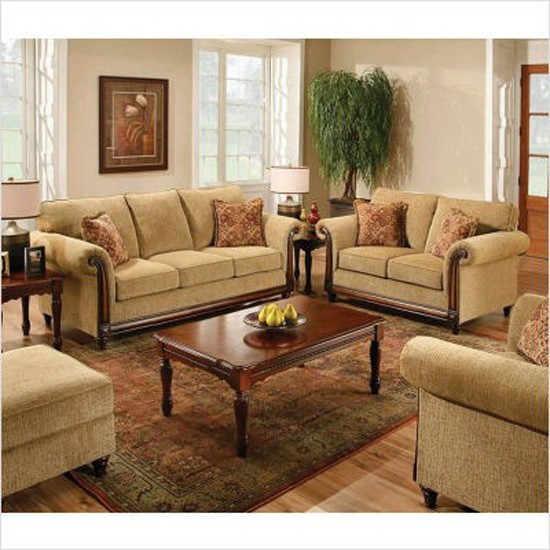 Traditional Living Rooms Furniture Fabric: Crossmagelen 3 Piece Sofa Set In